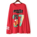 Graphic Printed Long Sleeve Round Neck Tunic T-Shirt