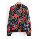 Fashion Floral Pattern Stand-Up Collar Long Sleeve Zip Up Baseball Jacket