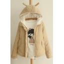 Winter's Warm Hooded Long Sleeve Simple Plain Zip Up Cotton Coat