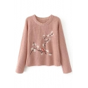 Chic Floral Bird Embroidered Round Neck Long Sleeve Pullover Sweater