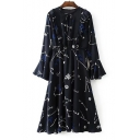 Fashion Pattern Bow Tie Round Neck Long Sleeve Flared Cuff Midi A-Line Dress