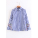 Floral Embroidered Long Sleeve Striped Pattern Buttons Down Shirt