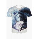 Summer' New Collection 3D Lion Pattern Round Neck Short Sleeve T-Shirt