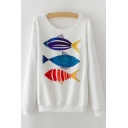 New Collection Fish Cartoon Pattern Long Sleeve Round Neck Sweatshirt