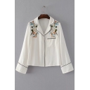 Chic Floral Embroidered Notched Lapel Collar Long Sleeve Buttons Down Shirt with Single Pocket