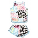 New Collection Letter Graffiti Sports Round Neck Tank with Loose Shorts