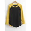 Contrast Raglan Long Sleeve Asymmetric Hem Round Neck T-Shirt