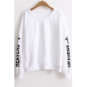 Fashion Letter Printed Long Sleeve Round Neck Cotton Comfort Sweatshirt
