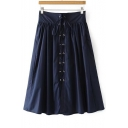 Women's New Arrival Lace Up Front Plain Maxi A-Line Skirt