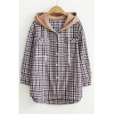 New Stylish Hooded Long Sleeve Single Breasted Plaid Color Block Shirt