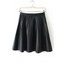 New Arrival Plain Zip Side Mini Pleated PU Skirt