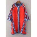 Tribal Color Block Long Sleeve Single Breasted Tunic Cardigan