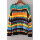 Color Block Striped Dropped Long Sleeve Pullover Sweater