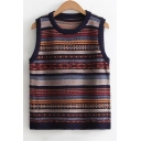 Chic Color Block Striped Printed Round Neck Sleeveless Vest Sweater