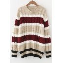 Chic Striped Color Block Long Sleeve Round Neck Pullover Sweater