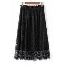 Chic Elastic Waist Plain Lace Midi Skirt