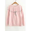 Drawstring Front Bow Detail Long Sleeve Round Neck Plain Pullover Sweater