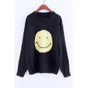 Lovely Happy Face Pattern Round Neck Long Sleeve Pullover Sweater