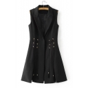 Notched Lapel Collar Fashion Grommet Lace-Up Side Plain Vest Coat