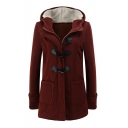 Chic Winter Collection Hooded Long Sleeve Zipper Placket Plain Tunic Coat
