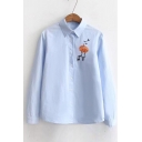 New Trendy Chic Embroidered Long Sleeve Lapel Collar Casual Shirt