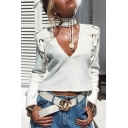 Grommet Lace-Up Sexy Plunge Neck Long Sleeve Plain Cropped Sweatshirt