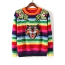 Color Block Striped Embroidery Tiger Pattern Long Sleeve Pullover Sweater