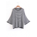 Fashion Flared Sleeve Striped Pattern Round Neck Loose Leisure Sweater
