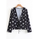 Sexy Plunge Neck Long Sleeve Fashion Star Pattern Pullover Blouse