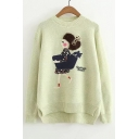 Sweet Cartoon Girl Embroidered Dipped Hem Round Neck Long Sleeve Sweater
