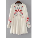 Chic Floral Embroidered Round Neck Long Sleeve Mini Smock Dress