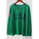 Letter USA Pattern Casual Loose Long Sleeve Round Neck Pullover Sweatshirt