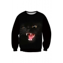 Digital Black Cat Printed Round Neck Long Sleeve Pullover Sweatshirt