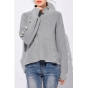 Chic Beaded Embellished Long Sleeve High Neck Simple Plain Sweater