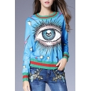 New Trendy Color Block Eye Pattern Round Neck Long Sleeve Casual Sweatshirt