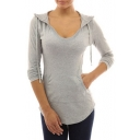 New Arrival Fashion V Neck Hooded Long Sleeve Plain Slim T-Shirt