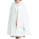 New Collection Winter's Warm Fashion Crane Pattern Hooded Cape Coat