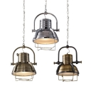 Vintage Hanging Pendant Light with Dome Shade in Antique Brass