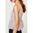 Summer Floral Striped Sleeveless V-Neck Single Breasted Blouse