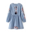 Fashion Floral Embroidery Round Neck Long Sleeve Mini A-Line Dress
