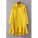 Lapel Collar Long Sleeve Buttons Down Fashion Ruffle Hem Plain Midi Shirt Dress