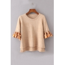 Chic Handcraft Sequined Ruffle Half Sleeve Round Neck Pullover Sweater