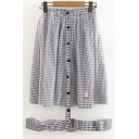 New Arrival Detachable Single Breasted Mesh Plaid Midi Skirt