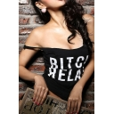 Hot Fashion Sexy Backless Sleeveless Letter Pattern Fitted Tank Tee