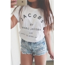 Fashion Street Style Letter Pattern Short Sleeve Round Neck Pullover T-Shirt