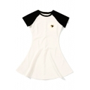 Chic Color Block Round Neck Short Sleeve Mini Casual A-Line Dress