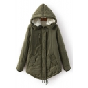 Winter Collection Long Sleeve Hooded Zipper Placket Plain Padded Coat