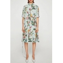 Chic Lapel Floral Printed 3/4 Length Sleeve Single Breasted Midi Shirt Dress