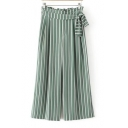Fashion Tied Up Side High Rise Striped Pattern Loose Wide Legs Pants