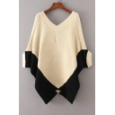 Color Block Asymmetric Hem Batwing 3/4 Length Sleeve V-Neck Cape Sweater